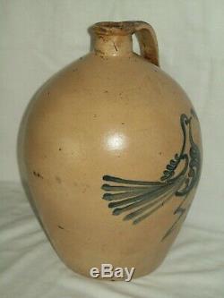 Rare Blue Bird Finger Jug / Antique Stoneware 1 Gallon Primitive Crock Jug