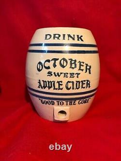 Rare October Sweet Apple Cider Stoneware Crock Fredonia New York Advertising
