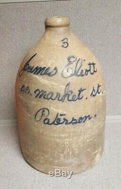 Rare Size 3 Gallon Stoneware Crock Blue Decorated Paterson NJ