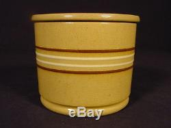 Rare Small Antique American 5 Inch Thin Banded Crock & LID Yellow Ware Mint