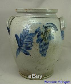 Rare Small Remmey 1 gal Decorated Stoneware Crock 19th cent