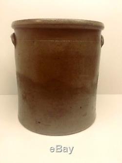 Rare Vintage Antique 6 Gallon Stoneware Saltglaze Crock with Cobalt Blue Flower
