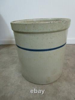 Rare Vintage Antique Blue Band Stoneware 6 Gallon Blue Band Crock