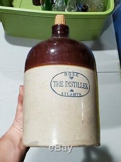 Rose Distiller Atlanta Ga Georgia Stoneware Whiskey Jug Gallon Rare Crock Old