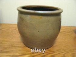 SMALL 5 ANTIQUE BLUE DECORATED STONEWARE CROCK by SHENFELDER, READING PA