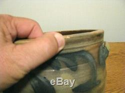 SMALL ANTIQUE BLUE DECORATED STONEWARE CAKE CROCK / Attr Remmey