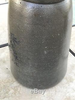 SUPERB! NO CRACKS Hamilton & Jones 1 Gal Colbalt Blue Decorated Stoneware Crock