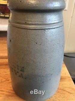 SUPER RARE! Eneix & Frankenberry New Geneva Pa Gal. Cobalt Stoneware Crock