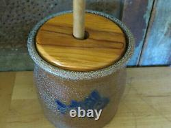 Salt Glaze Stoneware Pottery Lancaster County Stoneware Butter Churn w FISH
