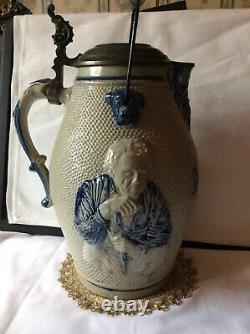 Salt Glazed Stoneware Giant Stein Pitcher Pewter Lid Wooden Bail Gesundheit