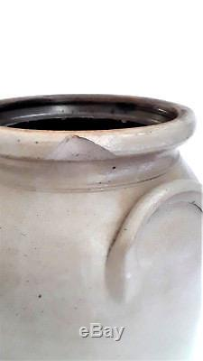 Scarce J & E NORTON 1 1/2 Gal. Cobalt-Decorated Stoneware Crock 1850-58
