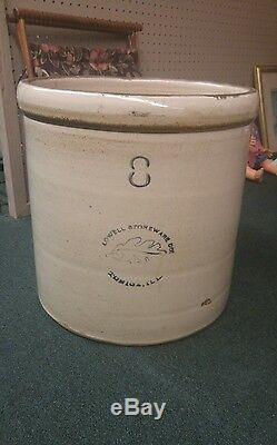 Scarce! Lowell Stoneware Company Tonica, Illinois Pottery 8 Gallon Oak Leaf