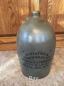 Schaffer & Driehorst Liquor Co Wheeling WV West Virginia Decorated Stoneware Jug