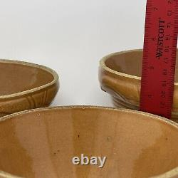 Set Of 3 Antique Stoneware Salt Glazed Mixing Bowls with lids Crock Farmhouse