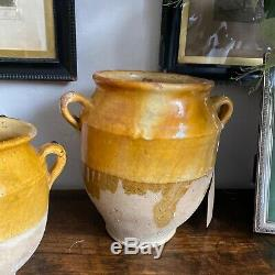 Set of 3. C1800s French Antique Stoneware Earthenware Crock Confit Pot Planter
