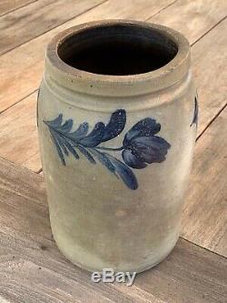 Signed R. C. Remmey. Phila. Cobalt Decorated Stoneware Jar with Tulips, Exc. AAFA