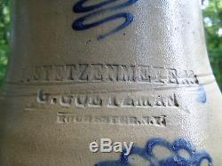 Signed Rochester N. Y. F. Stetzenmeyer G. Goetzman Stoneware Pitcher 1 1/2 Gallon