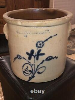 Signed Two Gallon Whites Utica, NY Stoneware Crock with Cobalt Blue Decoration