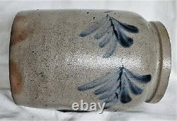 Small Antique Blue Decorated Salt Glaze Stoneware Crock Baltimore MD Virginia
