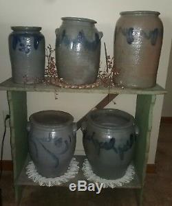 Stamped henry glazier blue decorated stoneware huntingdon pa stoneware