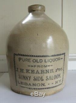 Stoneware Advertising Saloon Jug C 1890 Lebanon, KY