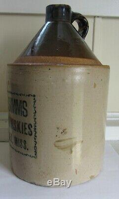 Stoneware Advertising Whiskey Jug C 1890 Mississippi
