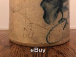 Stoneware Crock Antique Cobalt Blue Bird 6 Slip Handles Salt Glazed