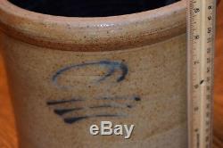 Stoneware Crock Vintage Salt Glaze Antique Blue Writing clay Unknown Maker