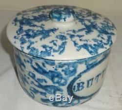 Stoneware Salt Glaze Blue Sponge Butter Crock withCover Good Color