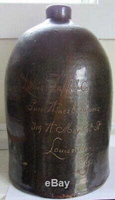 Stoneware Scratch Advertising Jug C 1880 Louisville, KY