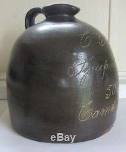 Stoneware Scratch Advertising Jug Upstate New York C- 1900 Syrup & Jug 50c