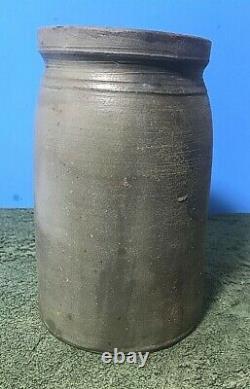 Stoneware Wax Sealer Canning Jar, 3 Cobalt Stripes Floral Cobalt Stencil, 8 1/4