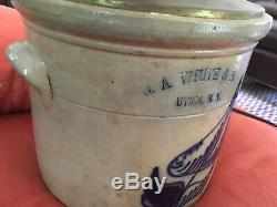 Stoneware crock, N. A. White & Son. Utica, N. Y. Made into lamp, easily changed