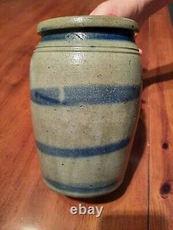 Striper Stoneware decorated Crock Southwestern Pennsylvania