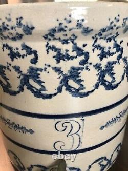 Stunning Antique 3 Gallon Blue Decorated Stoneware Water Dispenser Cooler Crock