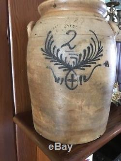 Superb Antique Cobalt STONEWARE Crock Union Pottery Jacob Zipfs Newark, N. J