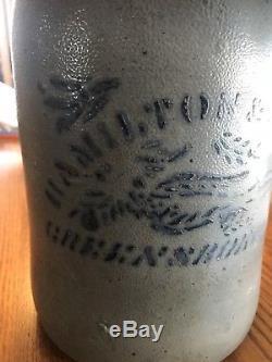 Superb NO FLAWS Hamilton and Jones 1 Gal. Colbalt Blue Decorated Stoneware Crock