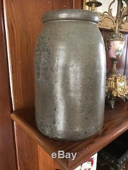 Superb Rare West Virginia Pineapple Colbalt Blue Decorated Stoneware Crock 1 Gal