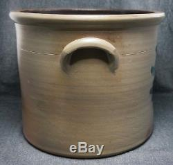 T. G. DAUB Easton, PA Blue Decorated Stoneware 4 Gal. CROCK Lug Handles