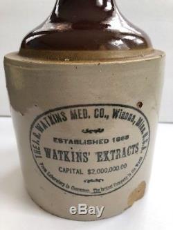 True Antique Vintage Watkins' Extracts Redwing Advertising Crock Jug Stoneware