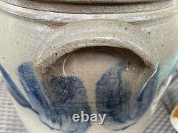 VERY CLEAN ANTIQUE 3 GALLON With BRUSHED ON BLUE COBALT DECORATED STONEWARE CROCK