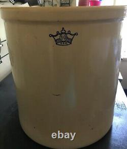 VINTAGE TEN Gallon Stoneware Crock Cobalt Blue Crown Ransbottom Pottery