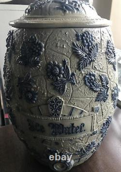 VINTAGE Whites UTICA NY STONEWARE ICE WATER COOLER DECORATED FLOWERS 2 GALLON