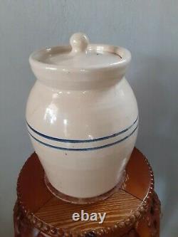 Vintage 10 blue ring Jug Crock Stoneware Paul Storie Pottery Marshall Texas
