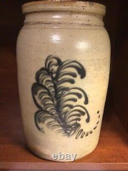 Vintage 11 Stoneware Crock Decorated W Stylized Ferns And Signed W Initials