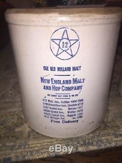 Vintage 12 Gal Stoneware Crock New England Malt and Hop Company