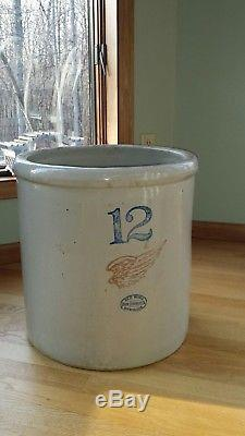 Vintage 12 Gallon Red Wing Crock Union Stoneware Unusual and Rare