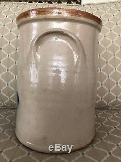 Vintage 1 1/2 Gallon Salt Glaze Stoneware Crock With Colbalt Blue Flower Rare