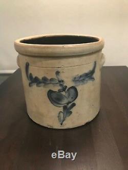Vintage 2 Gallon Stoneware Crock Cobalt Blue Design