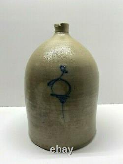 Vintage 3 Gallon Salt Glazed Stoneware Jug with Cobalt Blue Bee Sting
